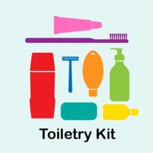 3 toiletry kits (soap, shampoo, lotion, razor, toothbrush, toothpaste, hand sanitizer)